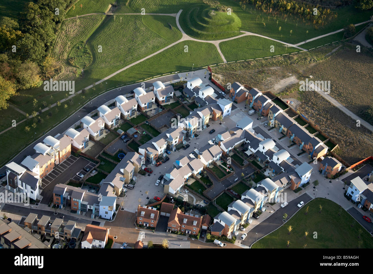 Aerial view south east of modern suburban housing development communal garden Harlow Essex CM17 England UK - Stock Image