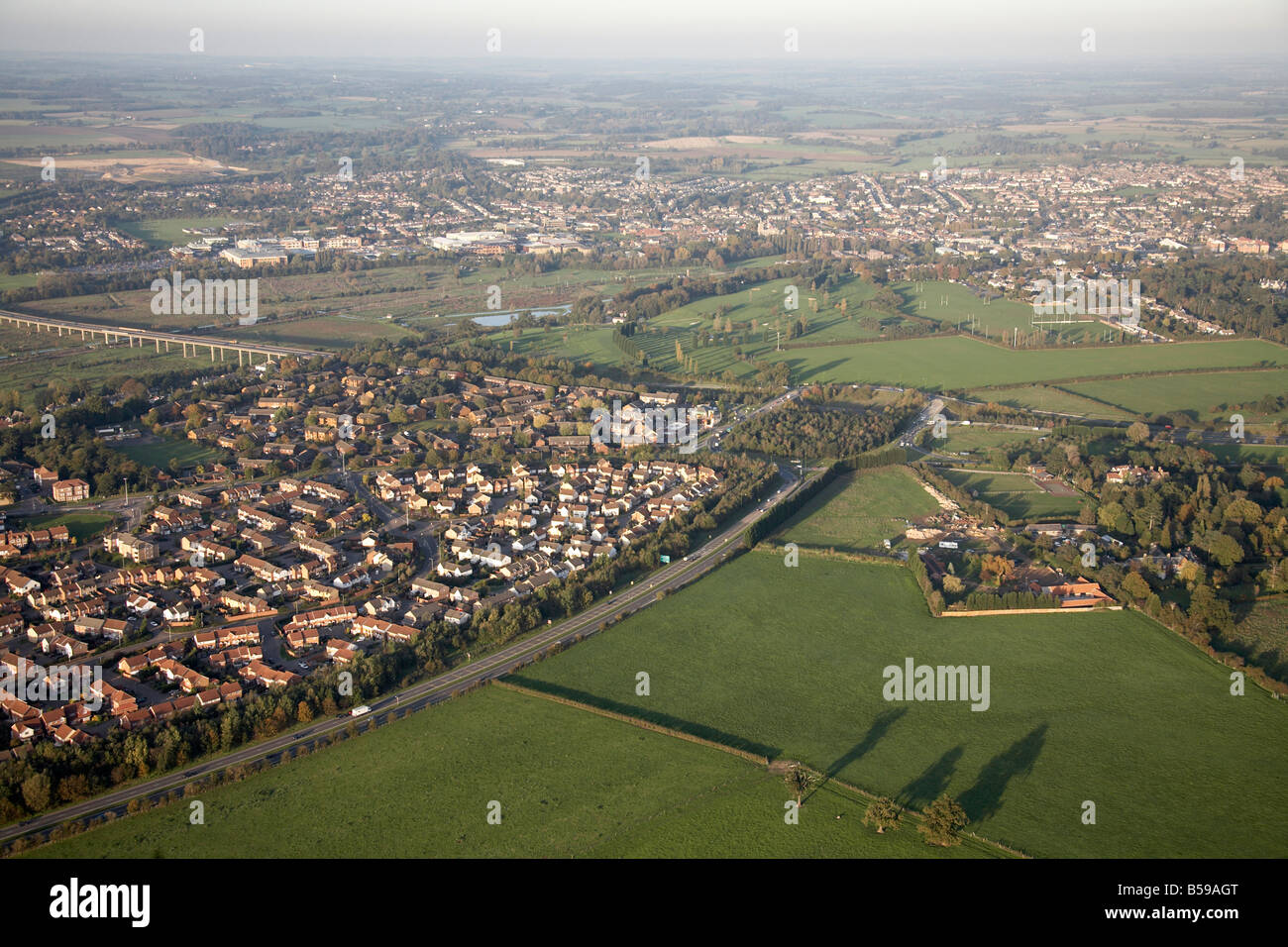 Aerial view north east the A414 road A10 road suburban houses country fields Rush Green Farm Hertford Heath Hertfordshire - Stock Image