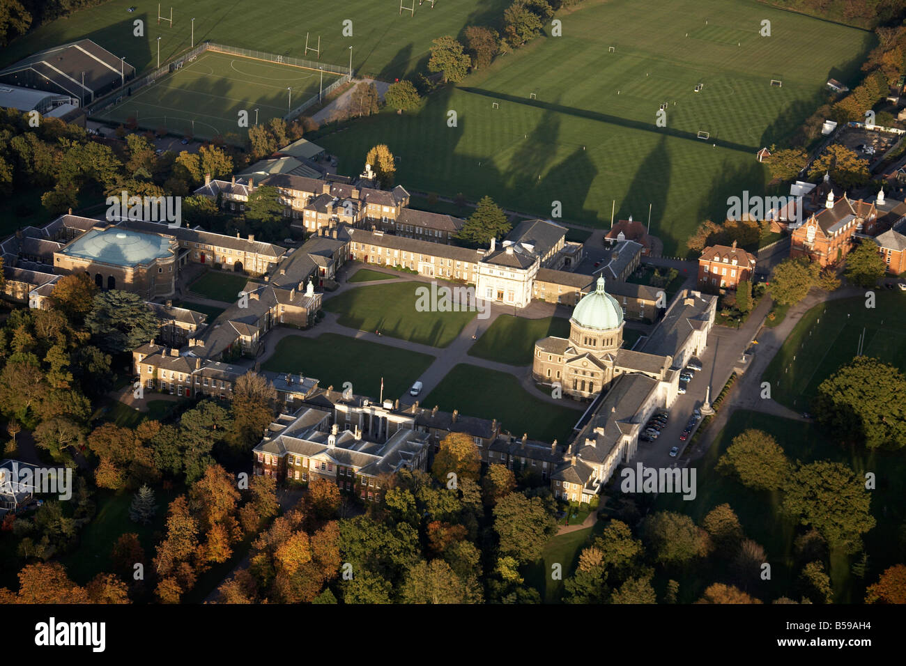Aerial view north east of Haileybury College playing fields trees Hertfordshire SG13 England UK - Stock Image