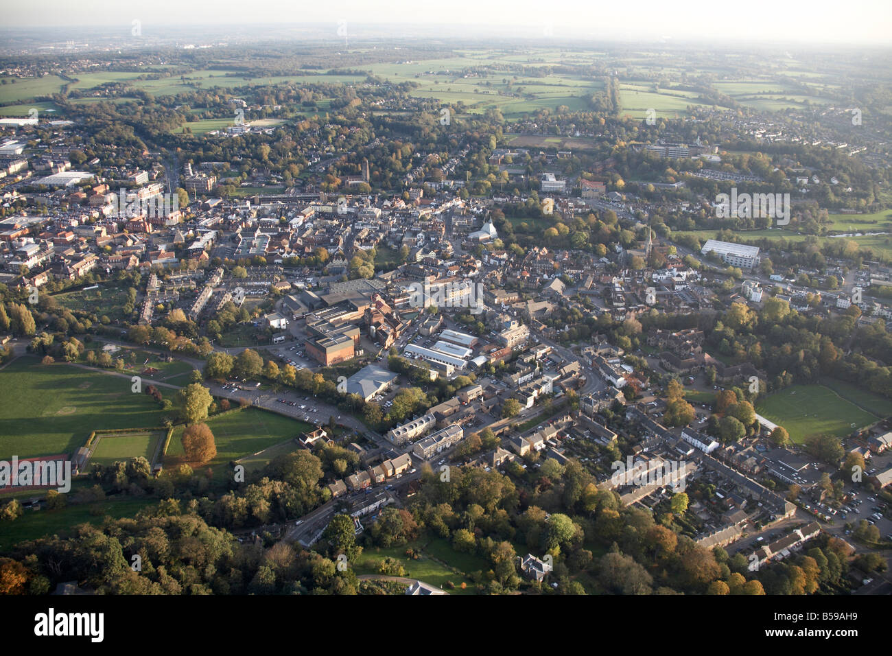 Aerial view south east of Hertford Town Centre Hartham Recreation Ground tennis courts Port Hill suburban houses - Stock Image