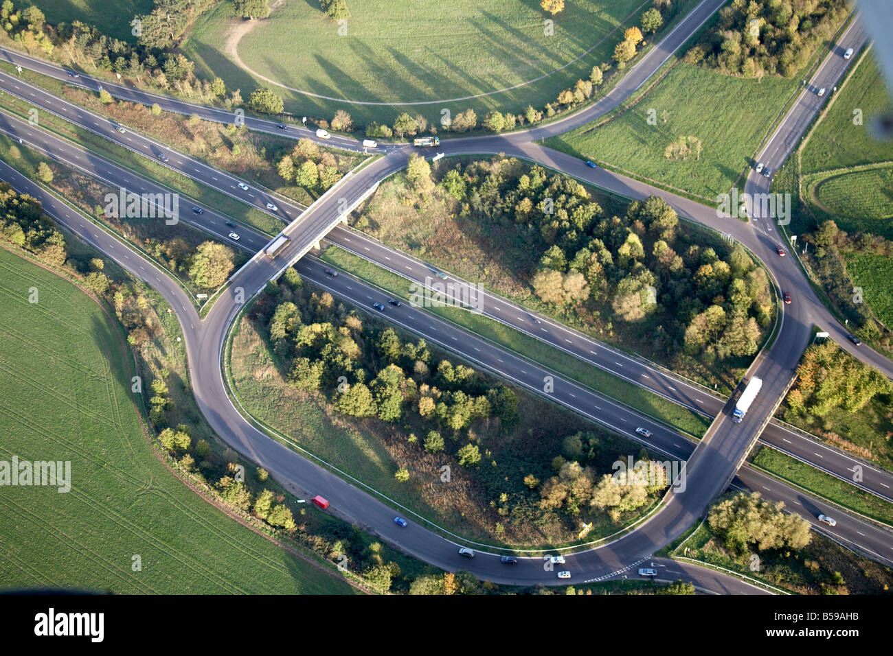 Aerial view east of A10 road and A1170 road country fields Hoddeson Hertfordshire EN11 England UK - Stock Image