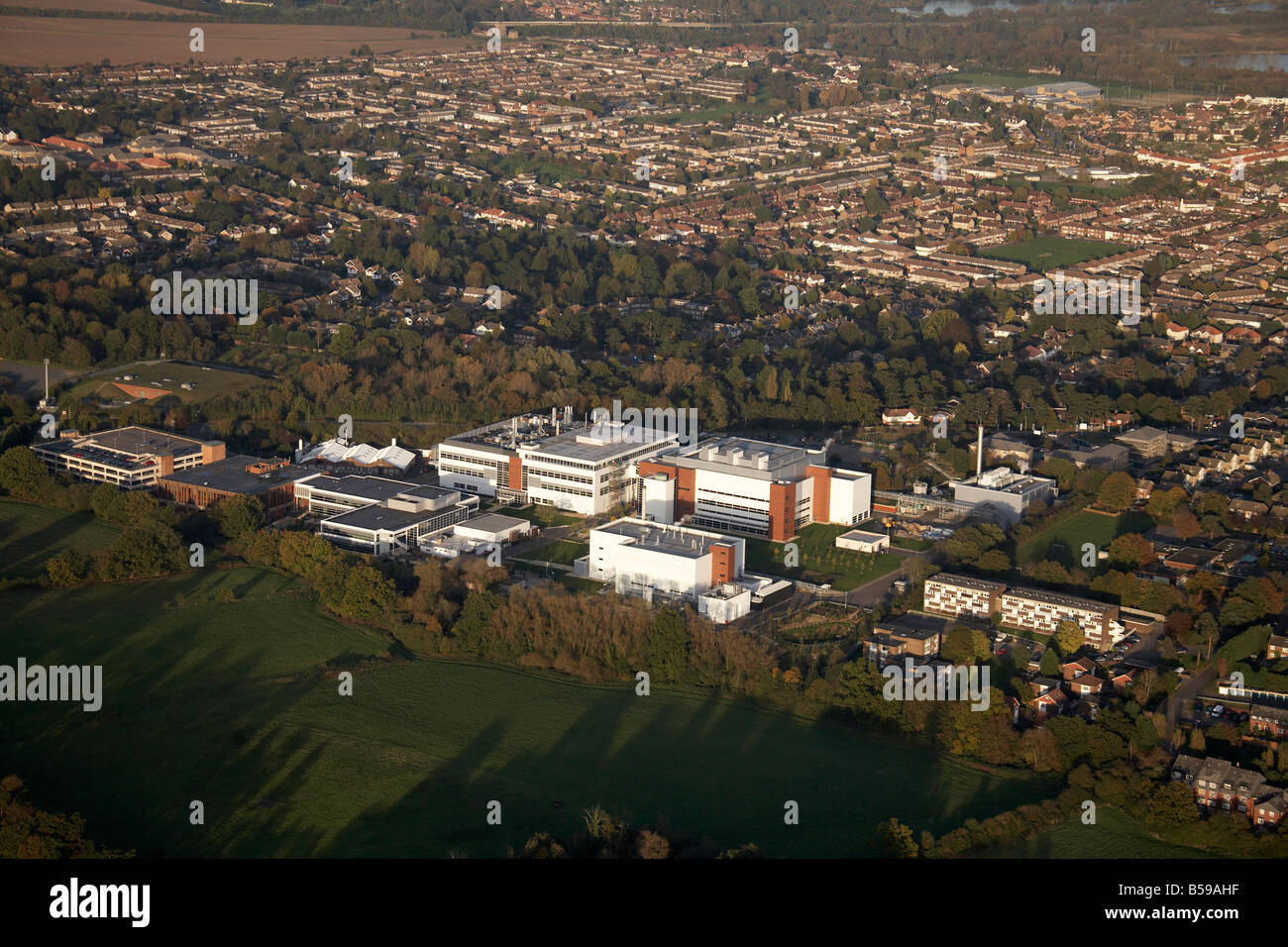 Aerial view south east industrial works Hertford Road Westfield JMR School suburban country fields Hoddesdon Hertfordshire - Stock Image