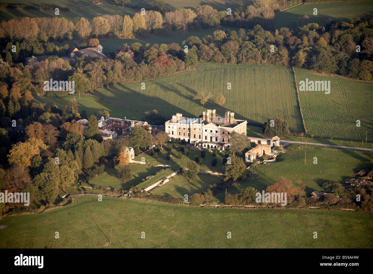 Aerial view north east of Copped Hall Rod Stewart s Epping Estate and gardens country fields trees Epping Forest - Stock Image