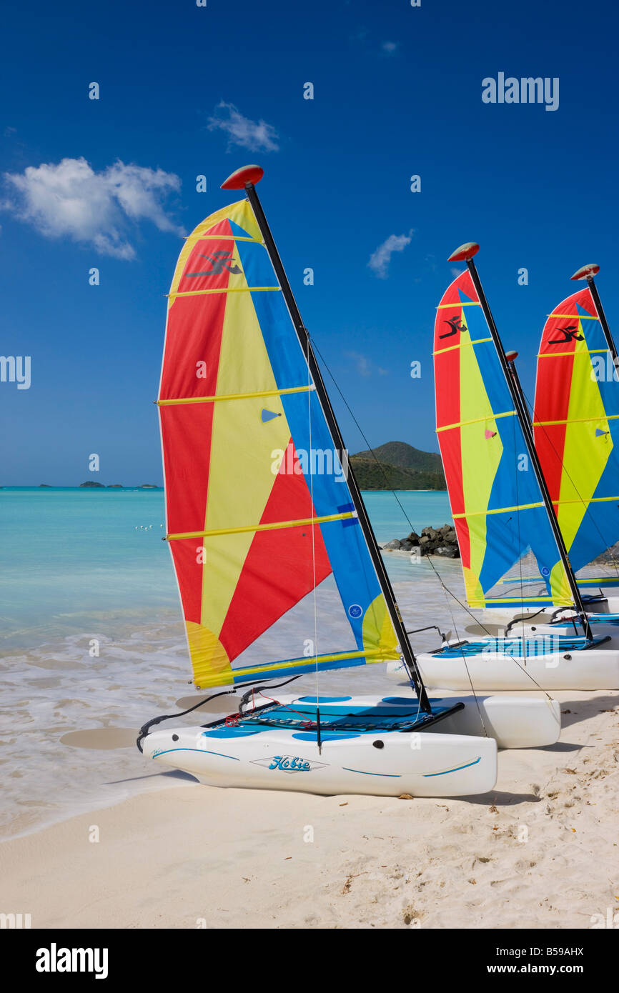 Colourful sailboats on Jolly Beach, Antigua, Leeward Islands, West Indies, Caribbean, Central America - Stock Image