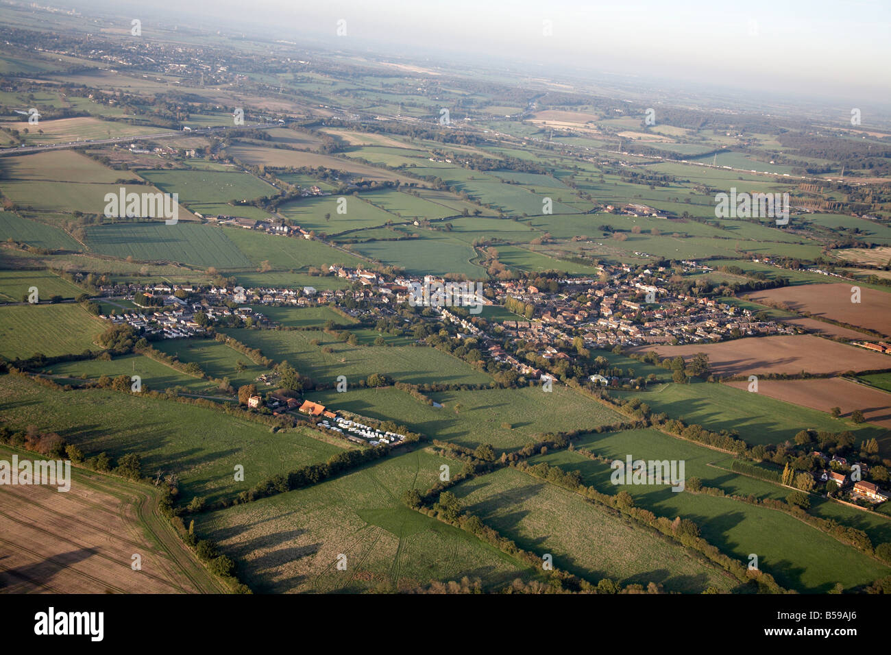 Aerial view north west of country houses Abridge caravan park Great Downs Farm Hoe Lane country fields Romford Epping - Stock Image