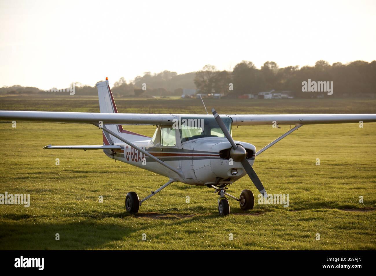 View of aeroplane G BGAA on grass Stapleford Tawney Aerodrome Romford Epping Forest London RM4 England UK - Stock Image