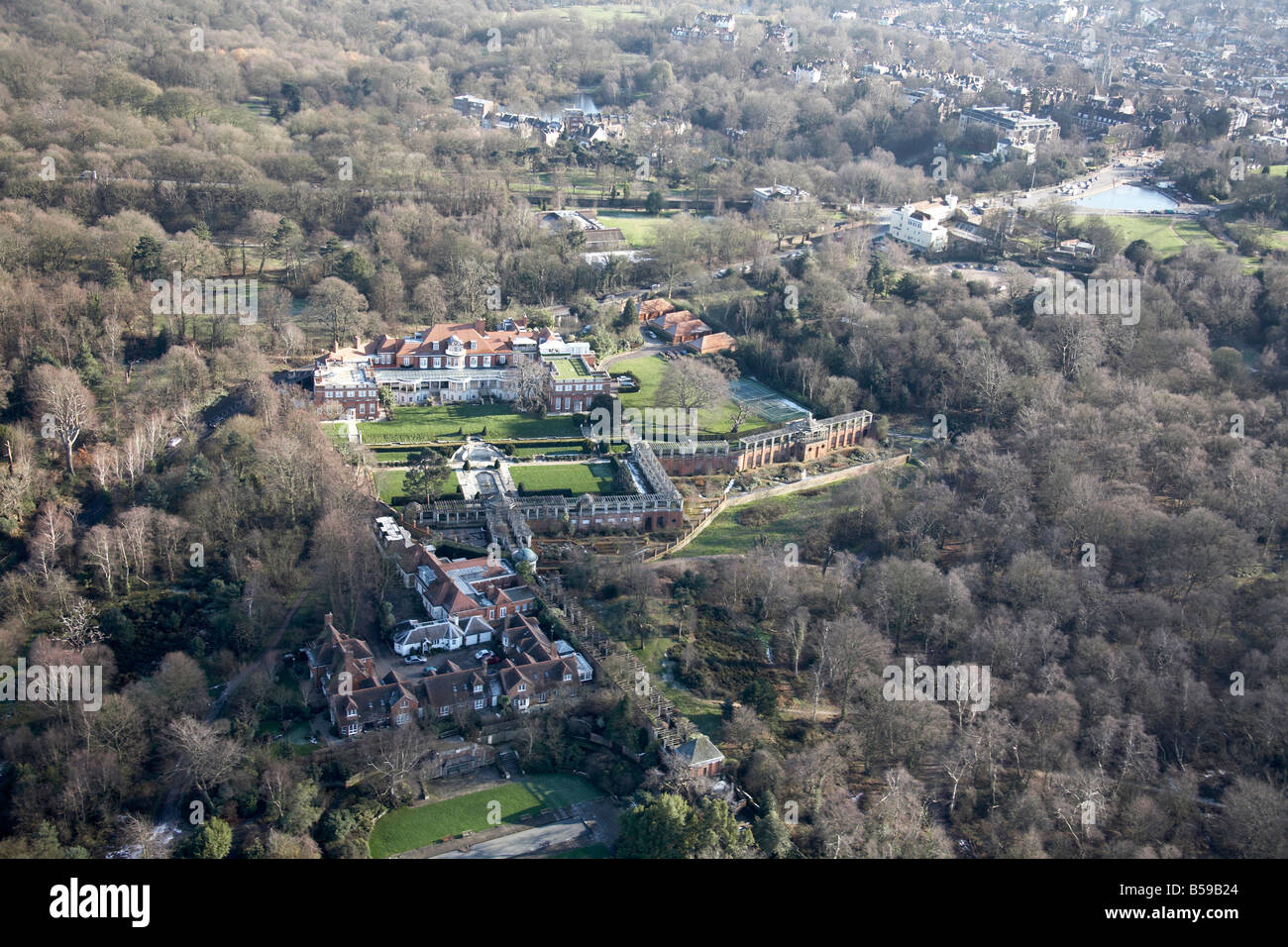 Aerial view south east of country mansion houses Inverforth Close North End Way Whitestone Pond West Heath Hampstead - Stock Image