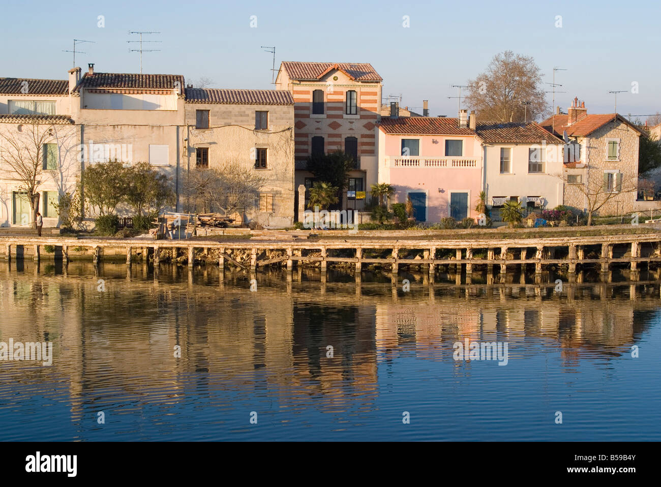 Riverside, Aigues-Mortes, Languedoc, France, Europe - Stock Image