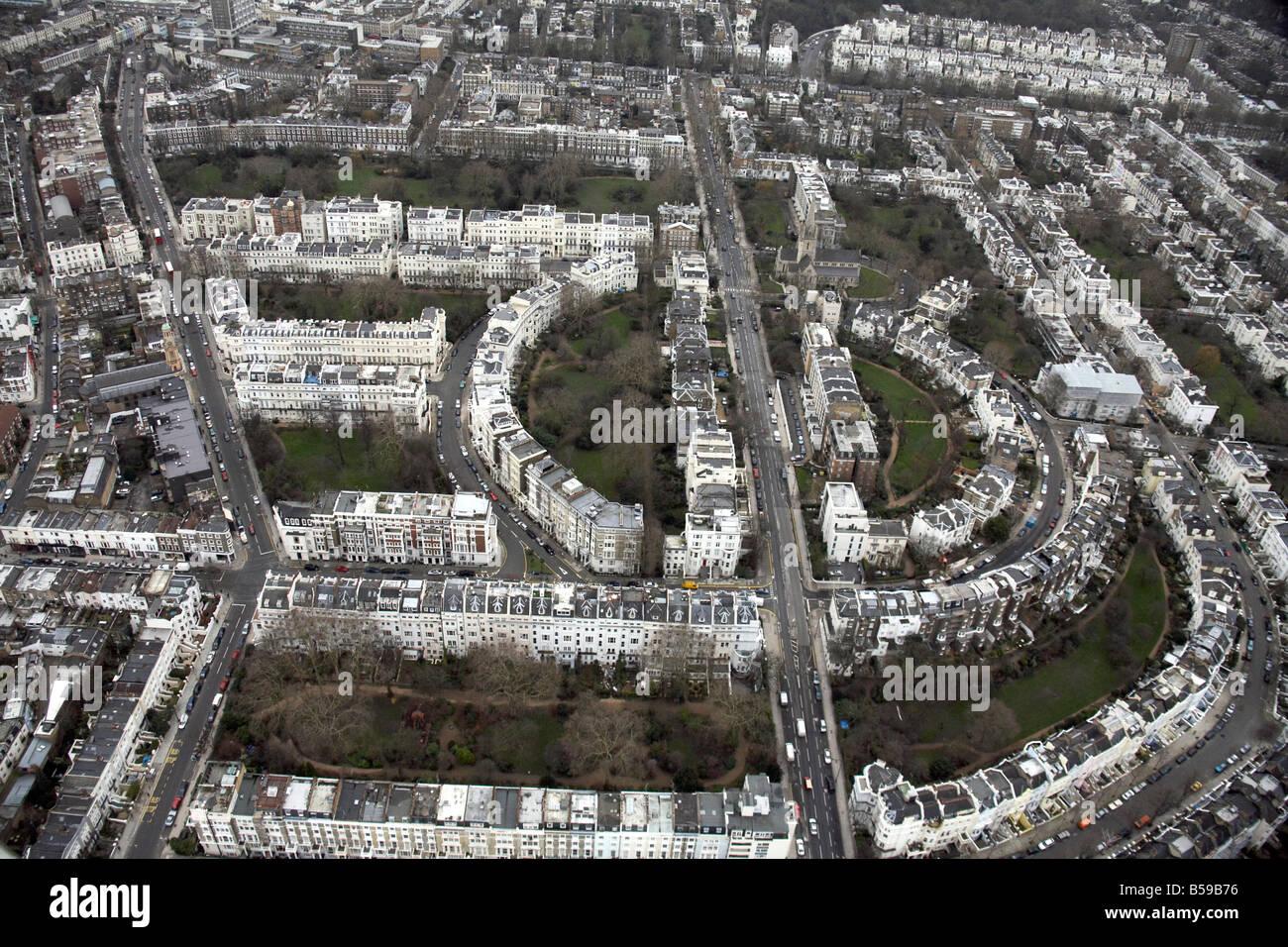 Aerial view Ladbroke Grove Stanley Crescent Lansdowne Crescent Kensington Park Rd suburban houses Notting Hill London Stock Photo