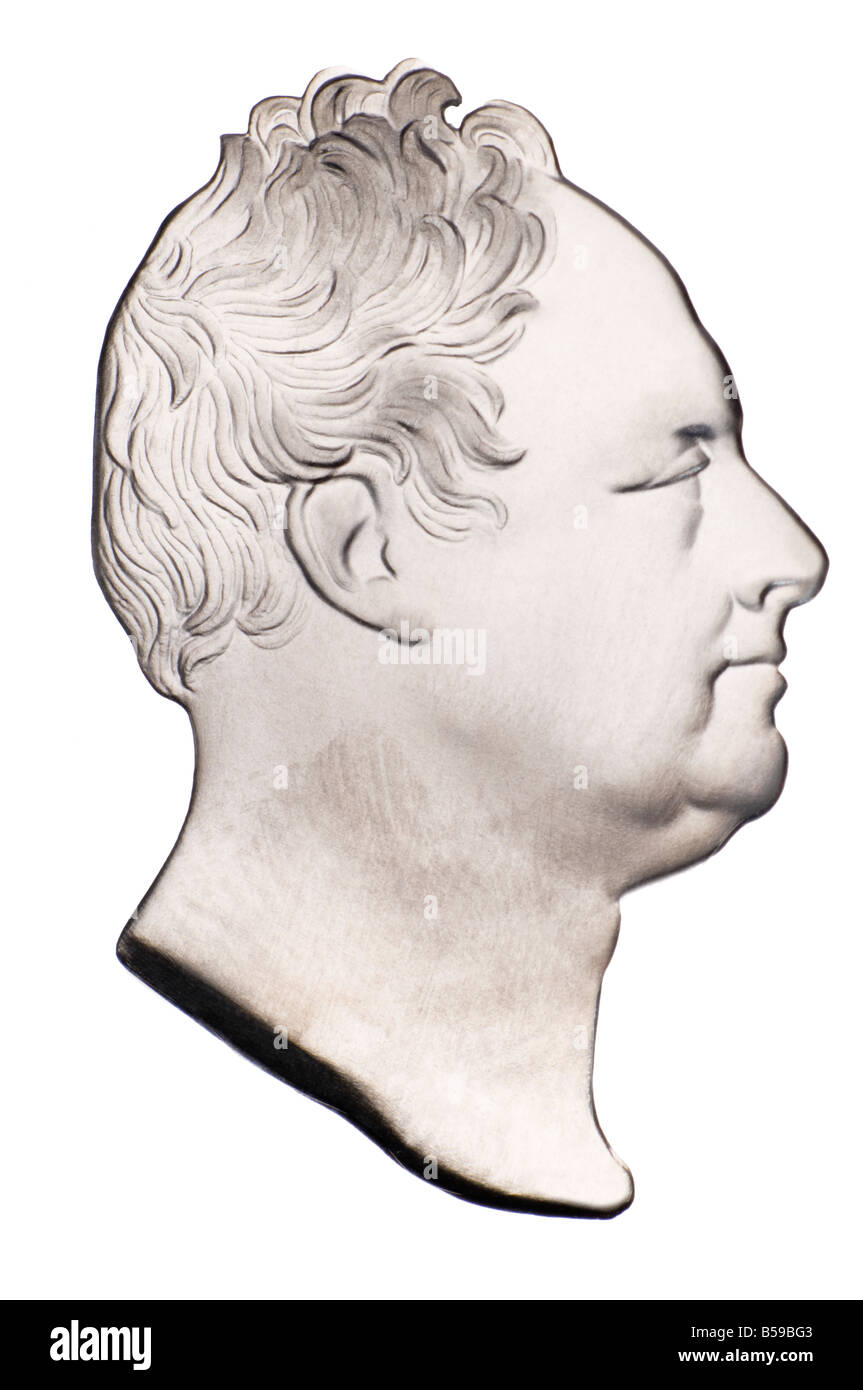 Portrait profile of King William IV from restrike of Coin - Stock Image