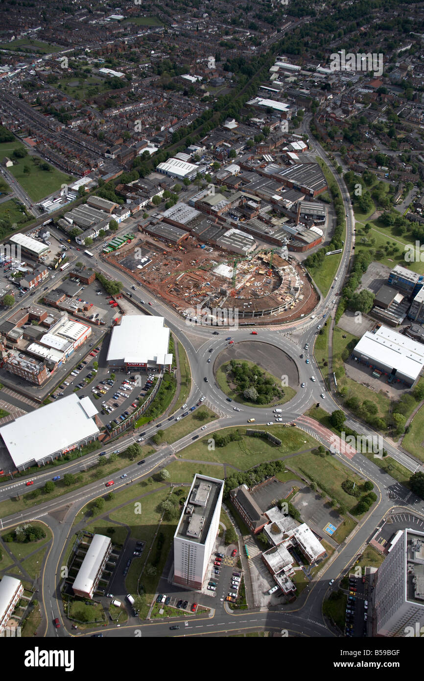 Aerial view south east of The Super Prix Traffic Island retail park construction site apartment tower blocks Highgate - Stock Image