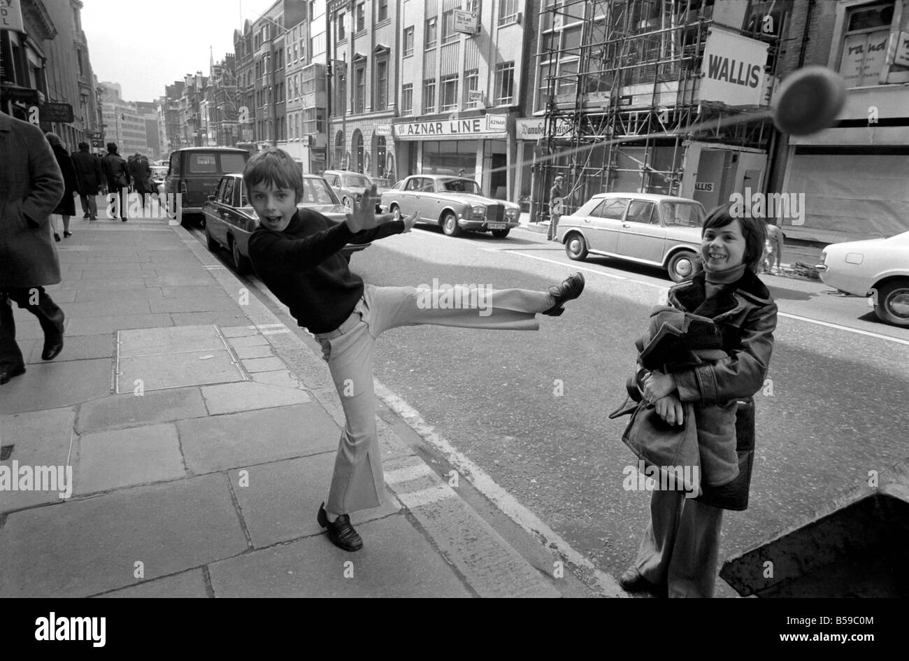 11-year-old Terry Yems from East Ham, London, went shopping with his 11-year-old cousin Billy Davis and he came Stock Photo