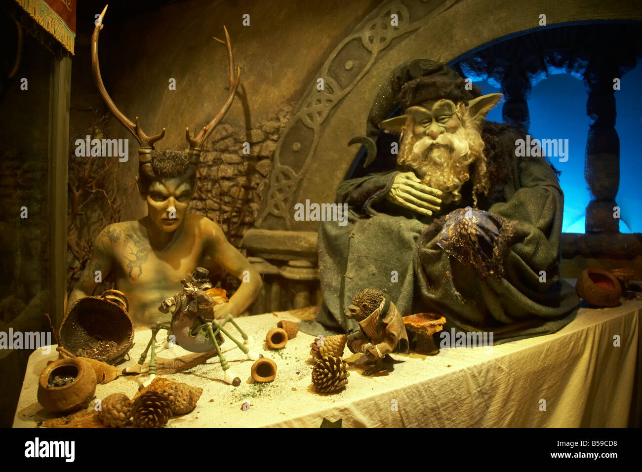 Elf and Satyr models in Blackgang Chine Fantasy Park Isle of Wight England UK Family and childrens visitor attraction - Stock Image