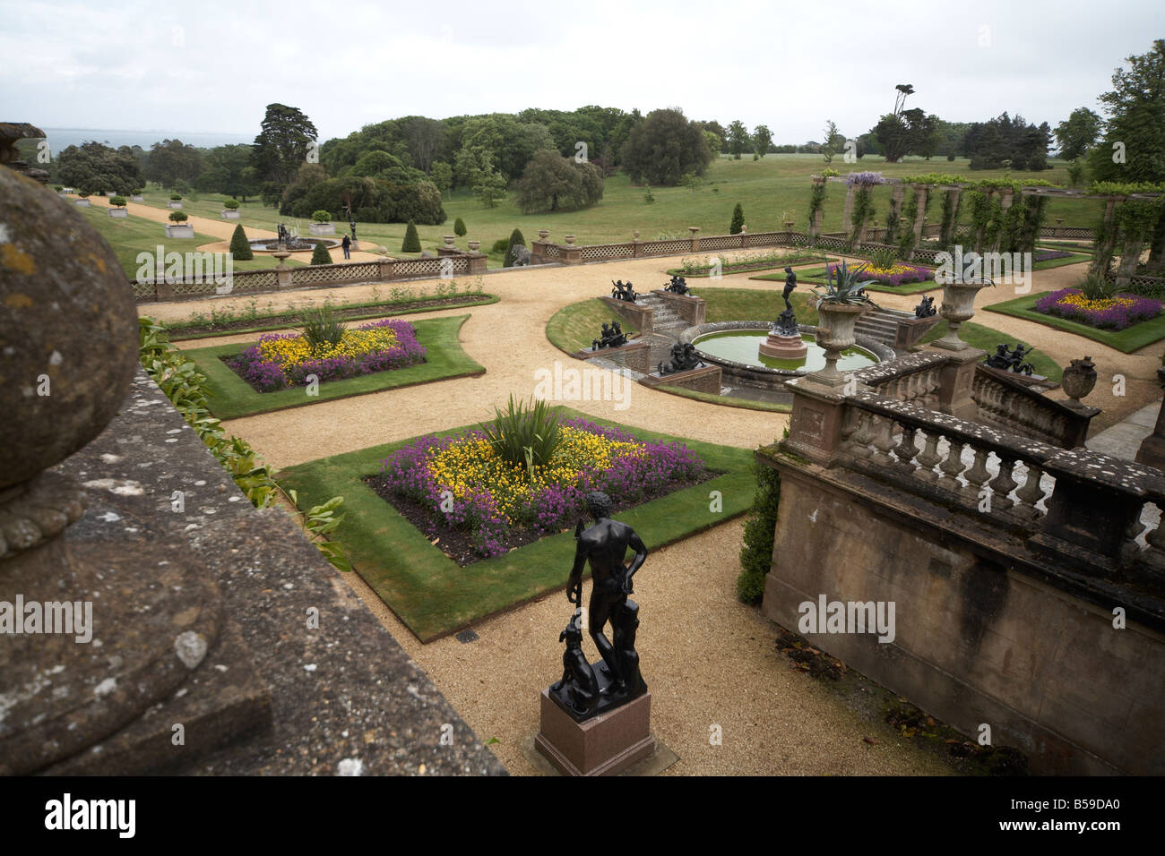 Terrace gardens of Osborne House former home of Queen Victoria East Cowes Isle of Wight England UK English Heritage - Stock Image