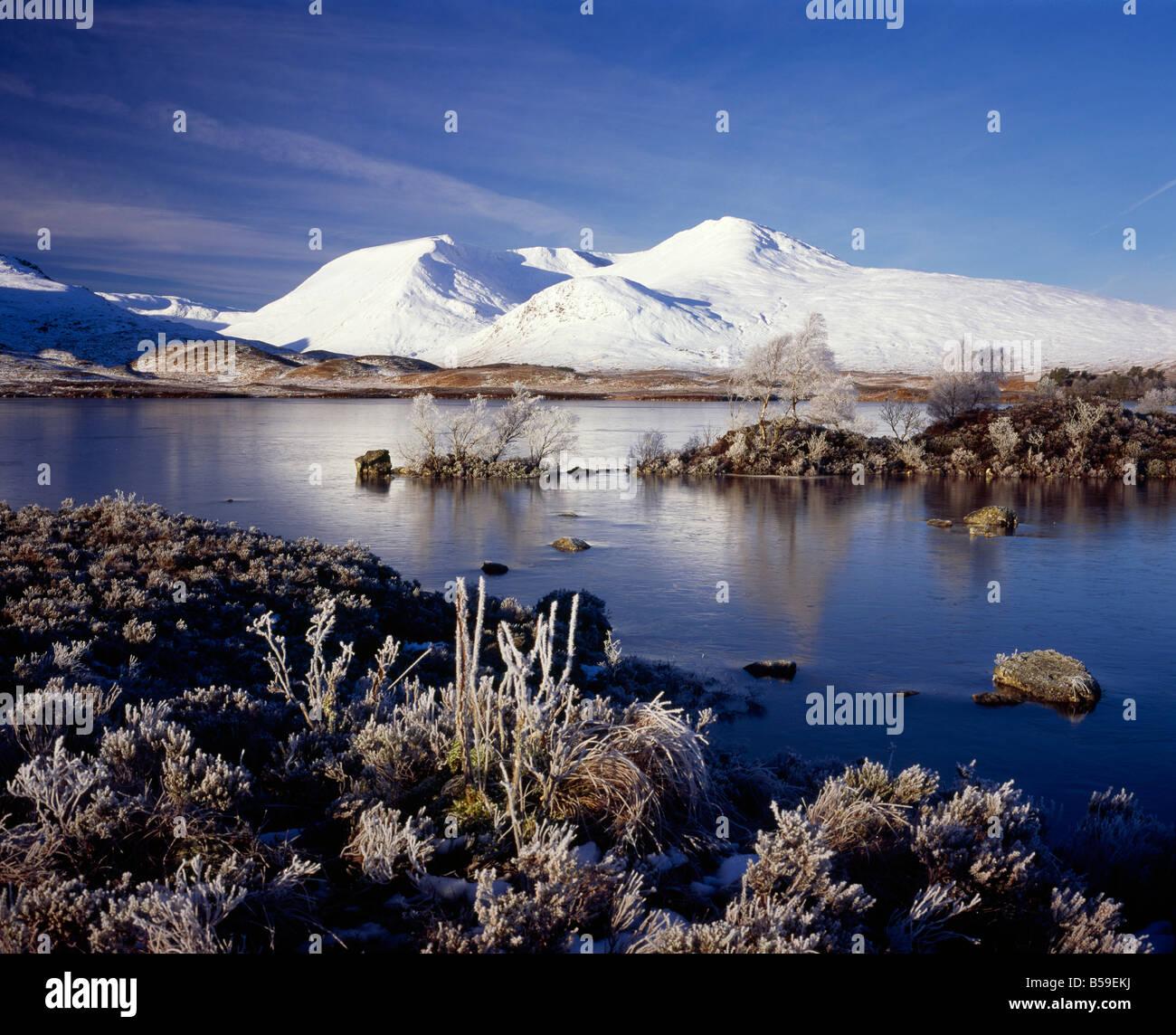 Rannoch Moor, Scotland in winter, a unique wetland site of special scientific interest. - Stock Image