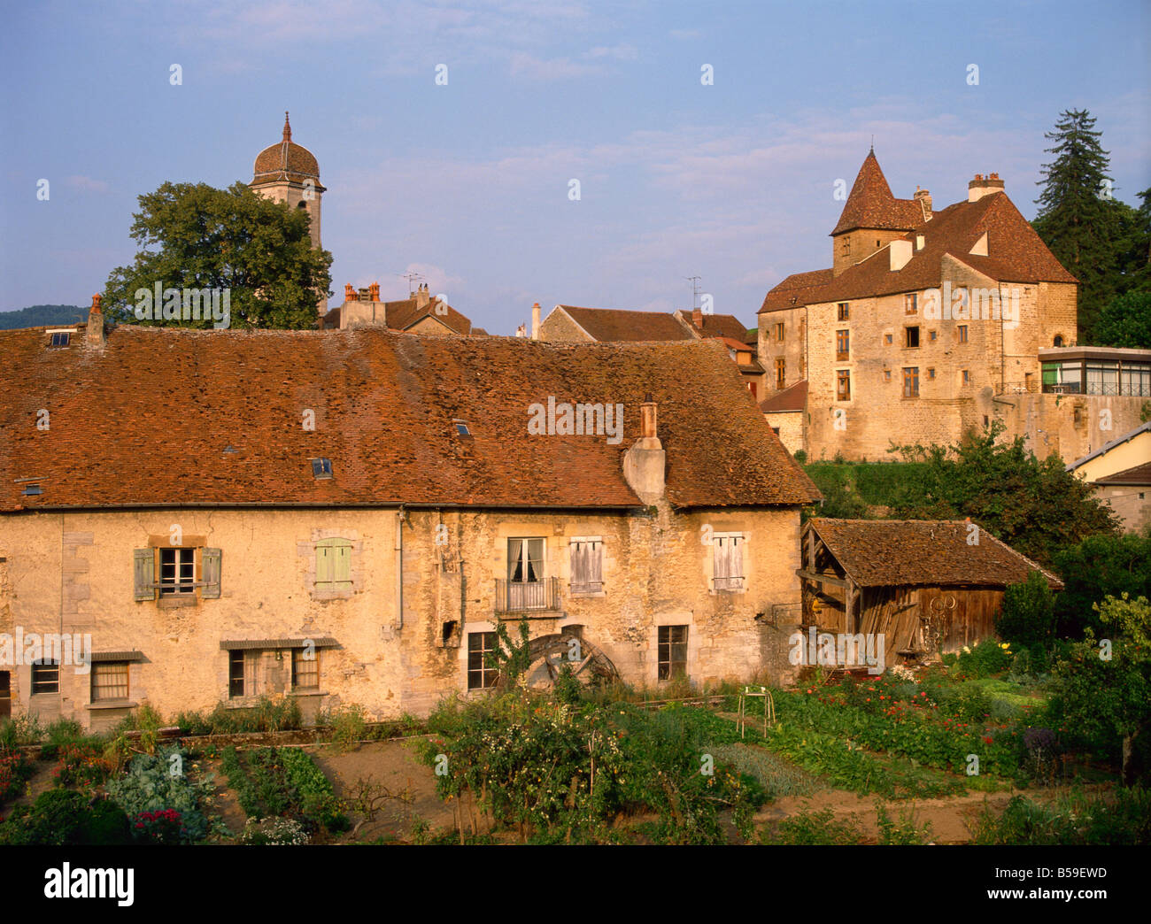 Old stone houses in Arbois, a town associated with Pasteur, Franche-Comte, France - Stock Image