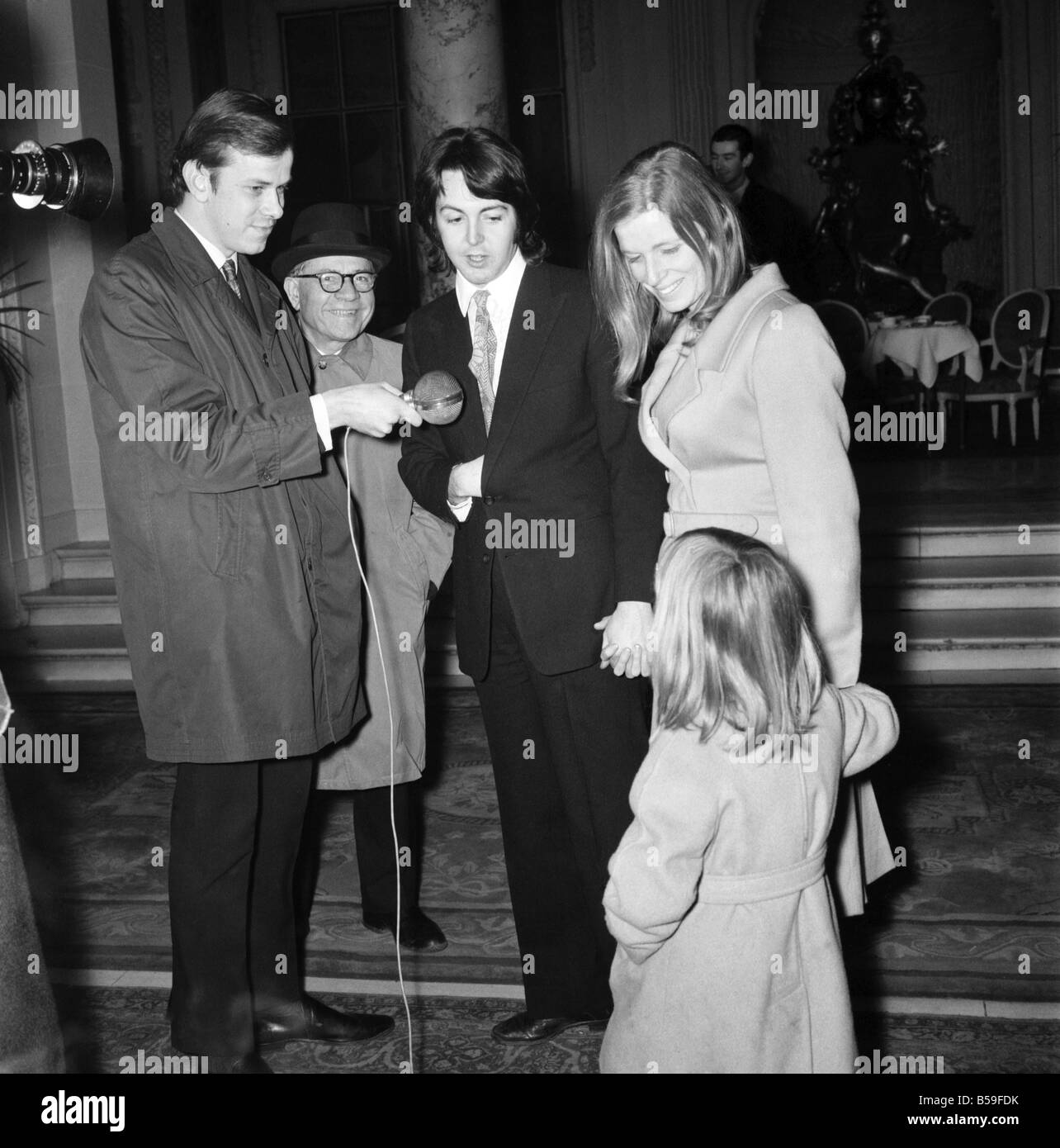 Beatles Singer Paul McCartney With His Bride Linda Eastman And Her Daughter Heather After Their Wedding CeremonyLunch Was Had At The Ritz Hotel March