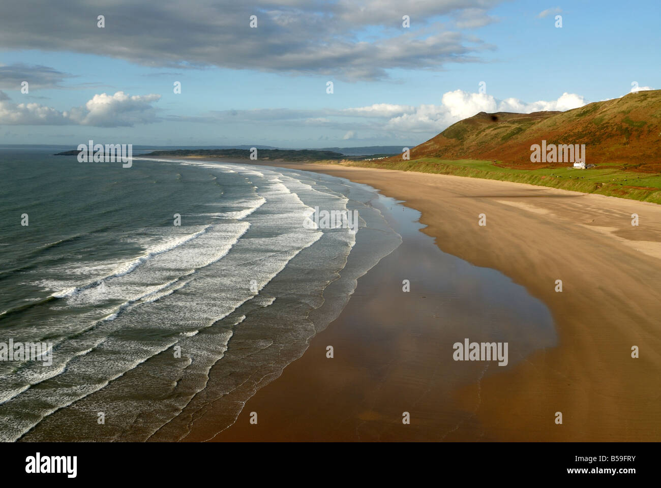 Llangennith beach from Rhossili on the Gower Peninsula - Stock Image