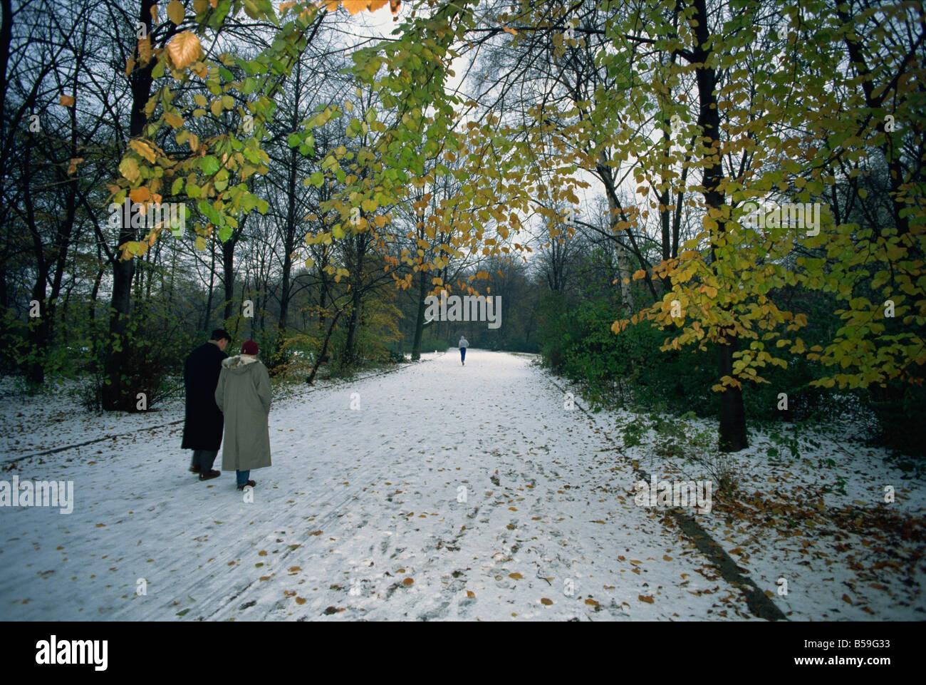 Couple walking in the snow in the Tiergarten, Berlin, Germany, Europe - Stock Image