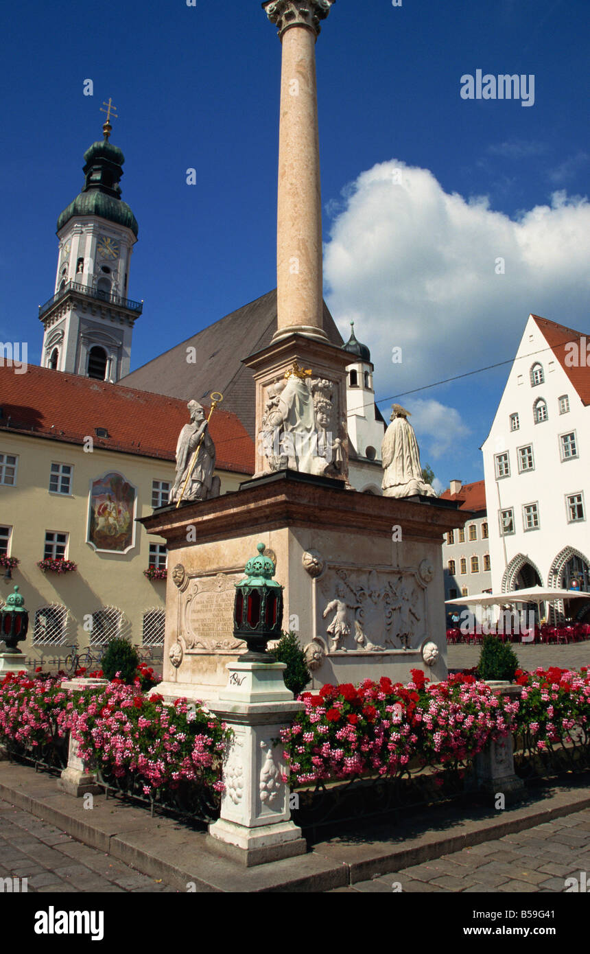 Mary s column with four patrons of the town Freising Bavaria Germany Europe - Stock Image