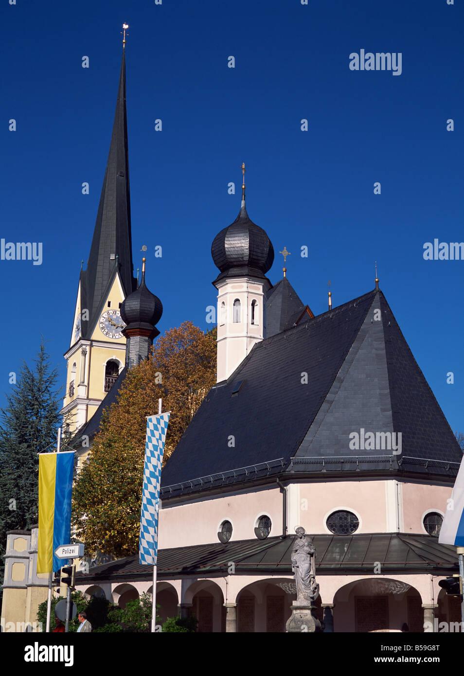 Prien Pfarkirche Maria Himmelfahrt, Chiemsee, Bavaria, Germany, Europe Stock Photo