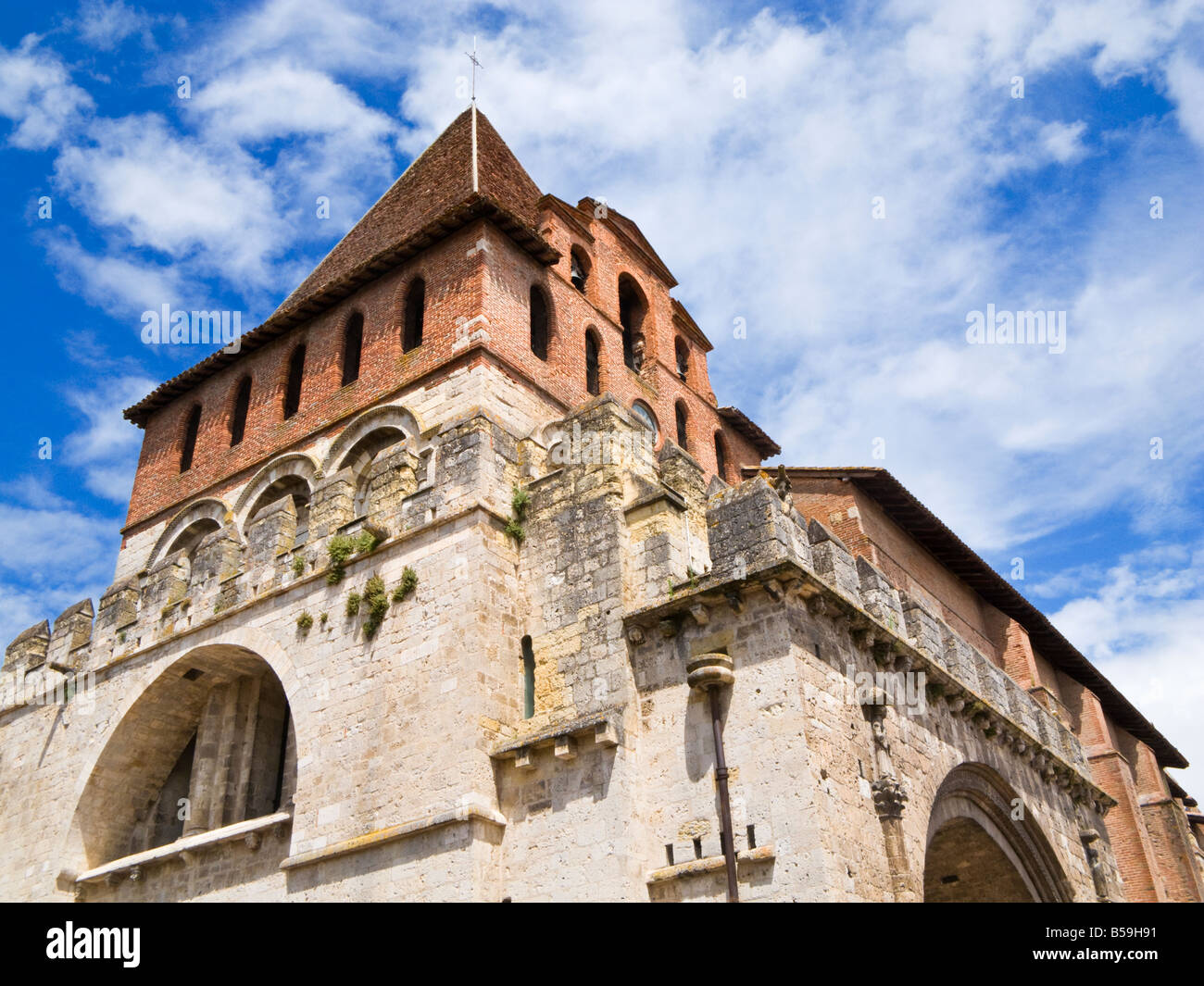 The Bell tower of the Abbaye Saint Pierre de Moissac in Moissac, Tarn et Garonne, France Europe - Stock Image