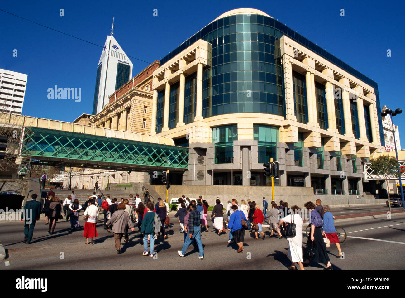 Commuters walking through Forrest Place in Perth Western Australia Australia Pacific - Stock Image