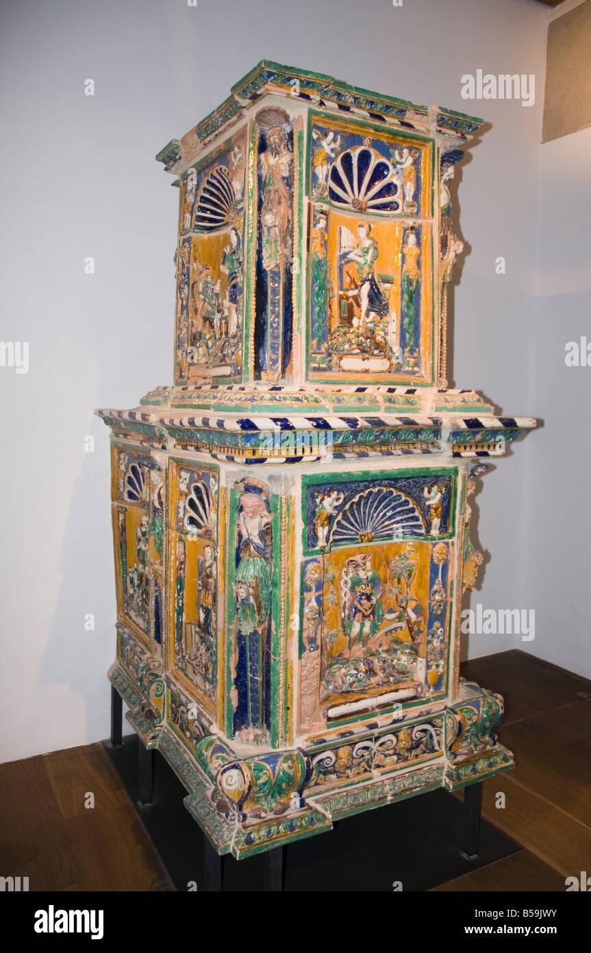 Majolica stoves inside the Hohensalzburg Fortress, Salzburg, Austria, Europe - Stock Image