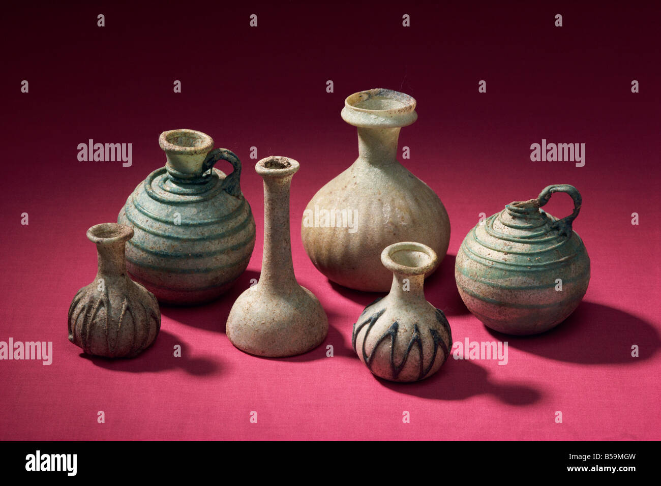 Glass bottles from Tylos period, New National Museum, Manama, Bahrain, Middle East - Stock Image