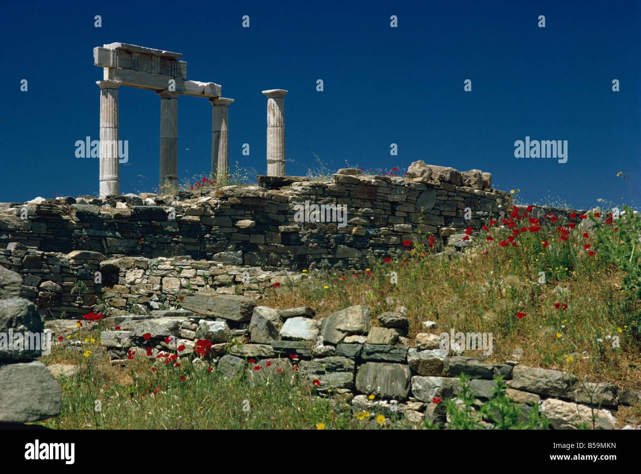 Temple of Apollo, Delos, UNESCO World Heritage Site, Greek Islands, Greece, Europe - Stock Image
