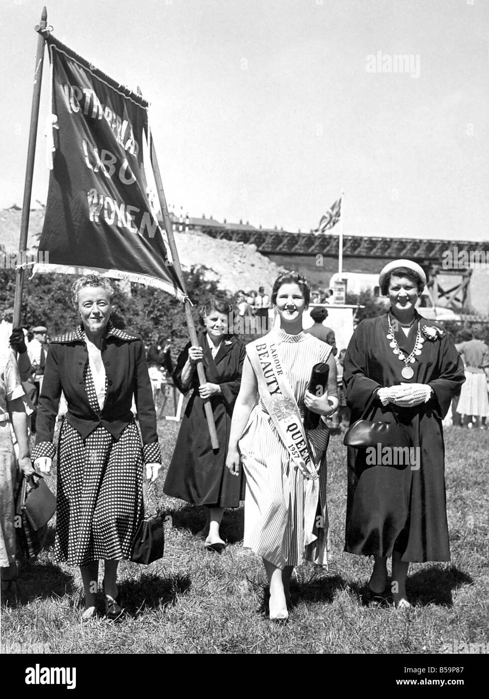 Bedlington Miners Picnic Woman speakers at the Northumberland Miners Gala Miss E Burton M P left arrived with Northumberland Stock Photo