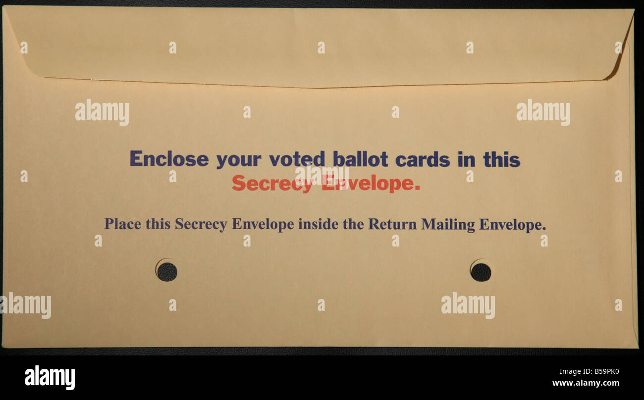 Traditional absentee paper ballot secrecy envelope for the 2008 presidential general election of the United States - Stock Image