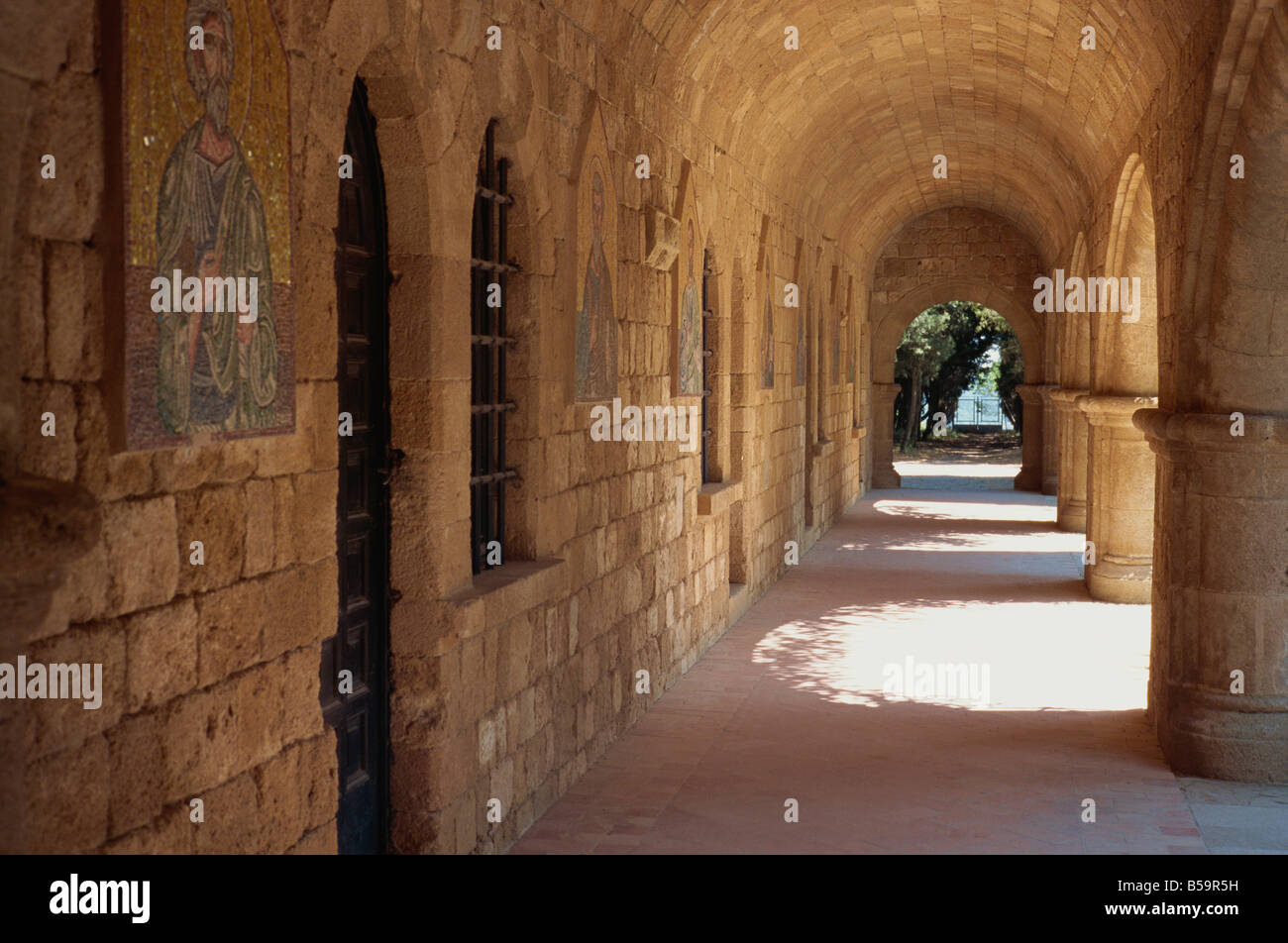 Cloisters in the Monastery of Pileramos and Temple of Athena at Ialyssos on the island of Rhodes Greece T Teegan - Stock Image