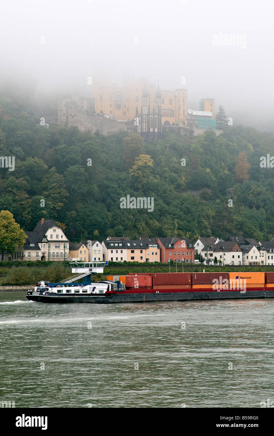 Stolzenfels Castle and the Rhine on a foggy morning. - Stock Image