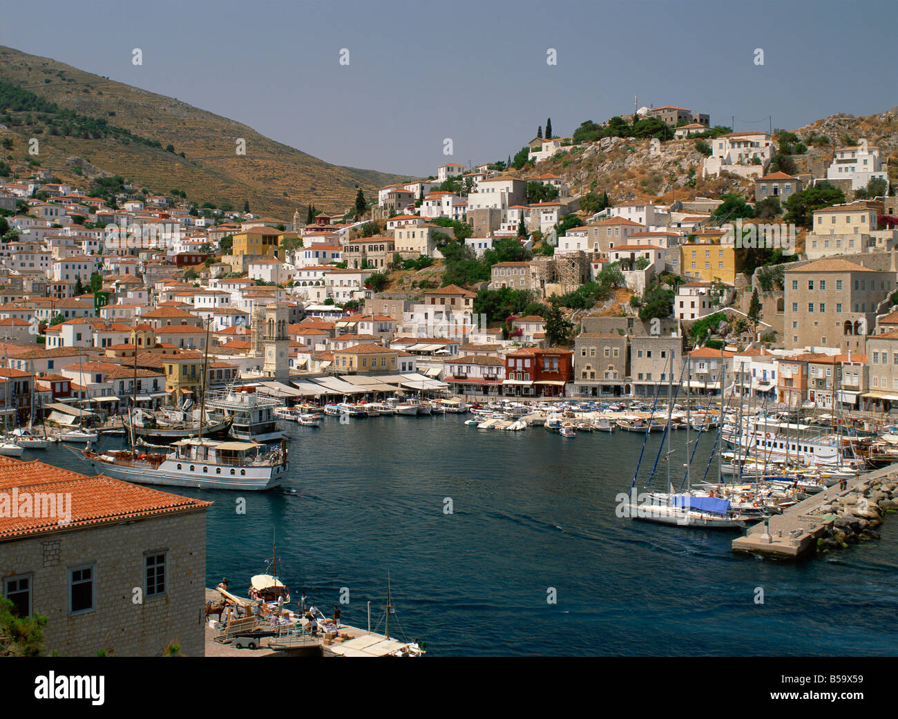 The harbour and town on Hydra Argo Saronic Islands Greek Islands Greece Europe - Stock Image