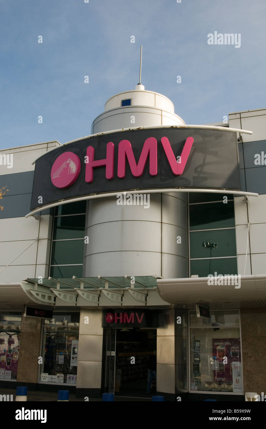 hmv traditional music retailer retail retailing cd dvd his masters voice record shop park out of town shop shopping - Stock Image
