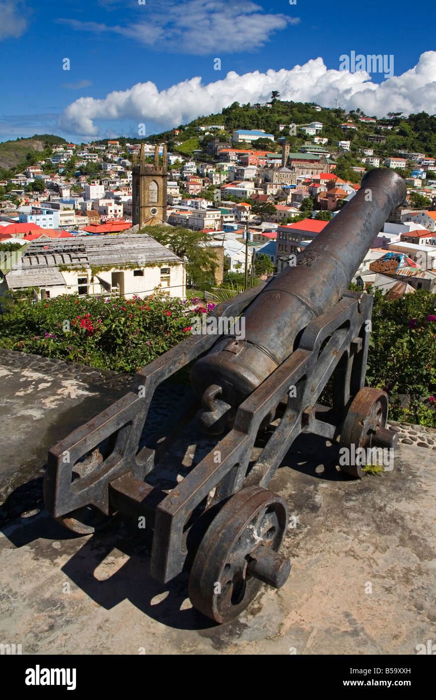 Cannon at Fort St. George, St. George's, Grenada, Windward Islands, Lesser Antilles, West Indies, Caribbean, - Stock Image