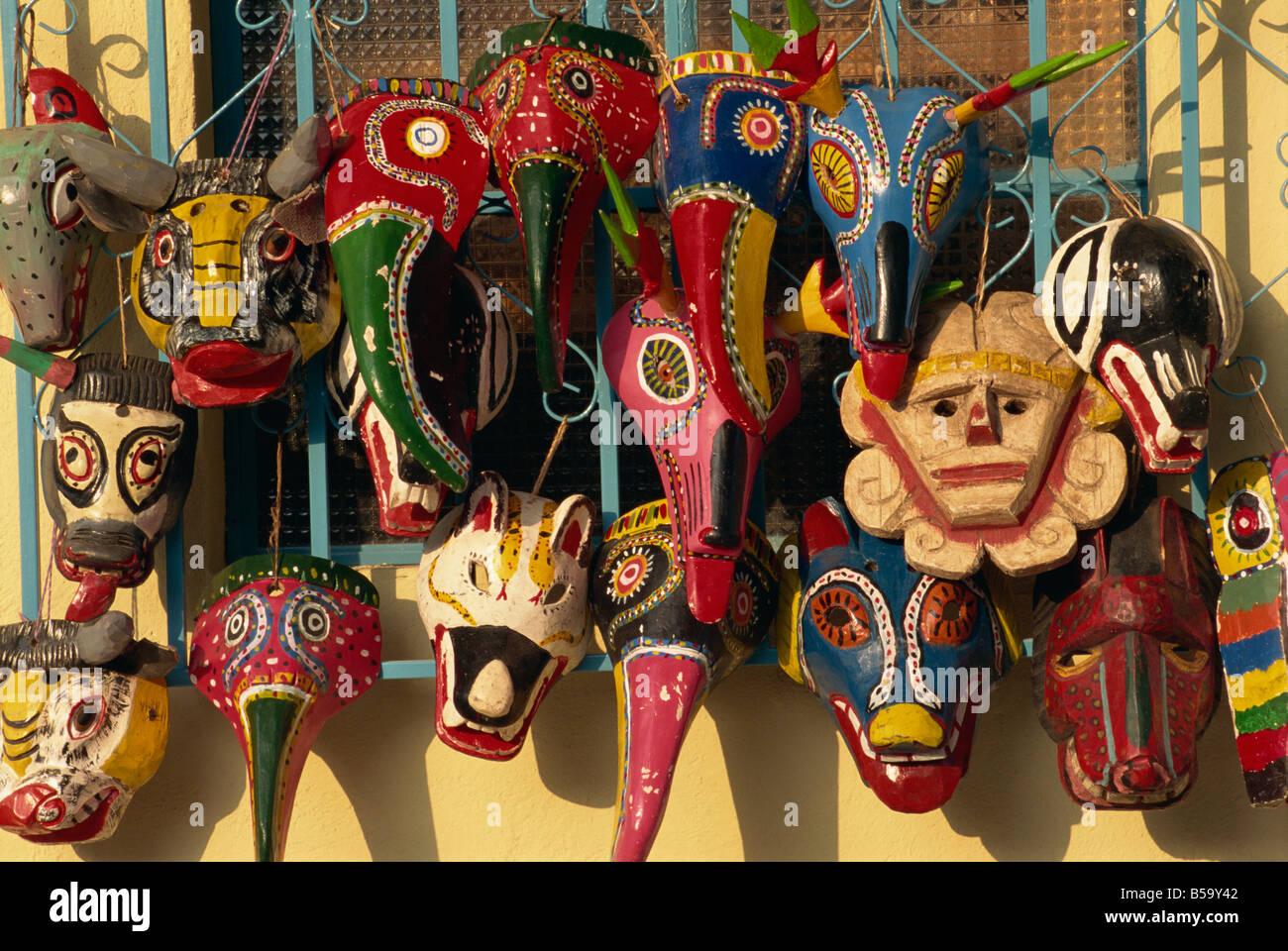 Wooden masks, Panajachel, Lake Atitlan, Guatemala, Central America - Stock Image