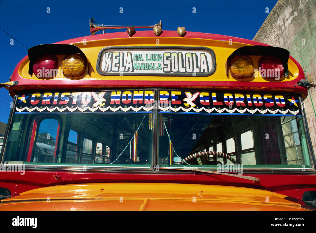 Local bus, formerly a U.S. school bus, Solola, Guatemala, Central America - Stock Image