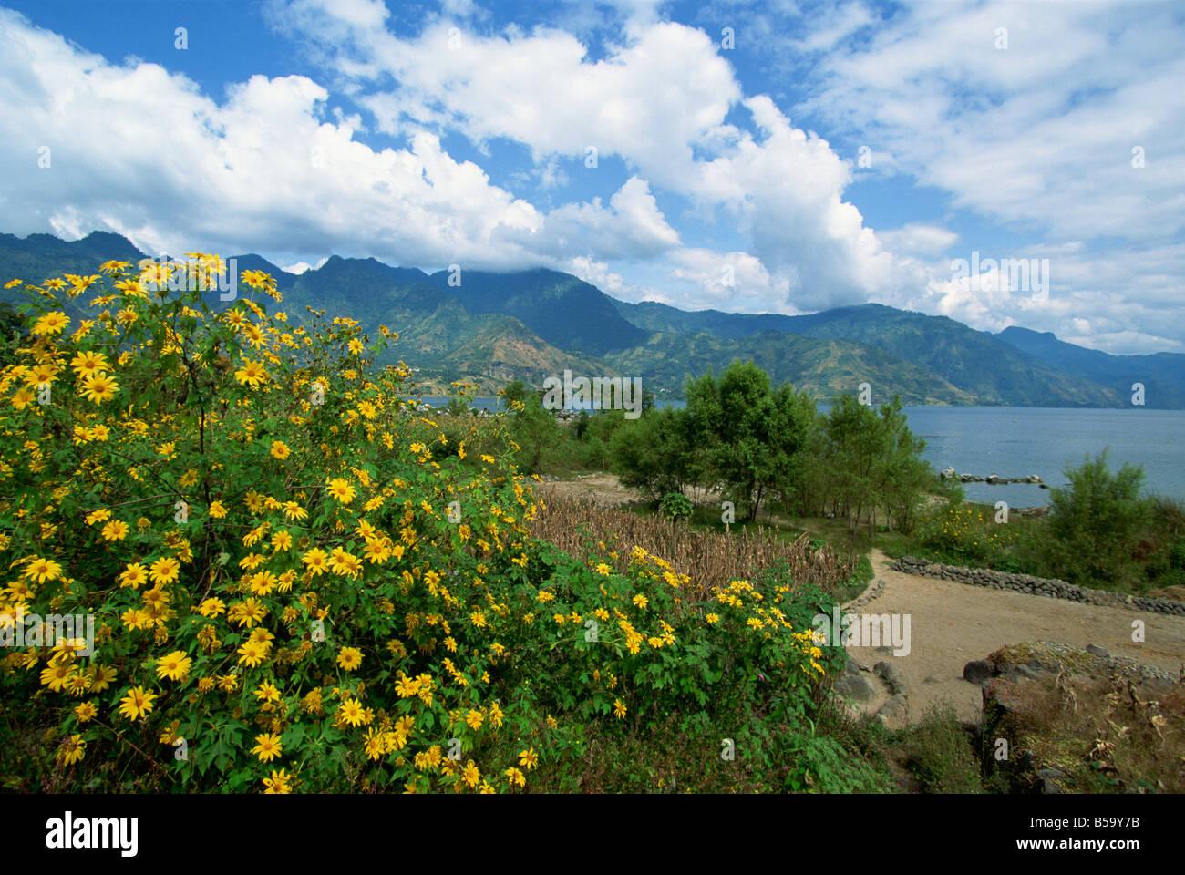 Looking from San Pedro La Laguna towards Lake Atitlan, Guatemala, Central America - Stock Image