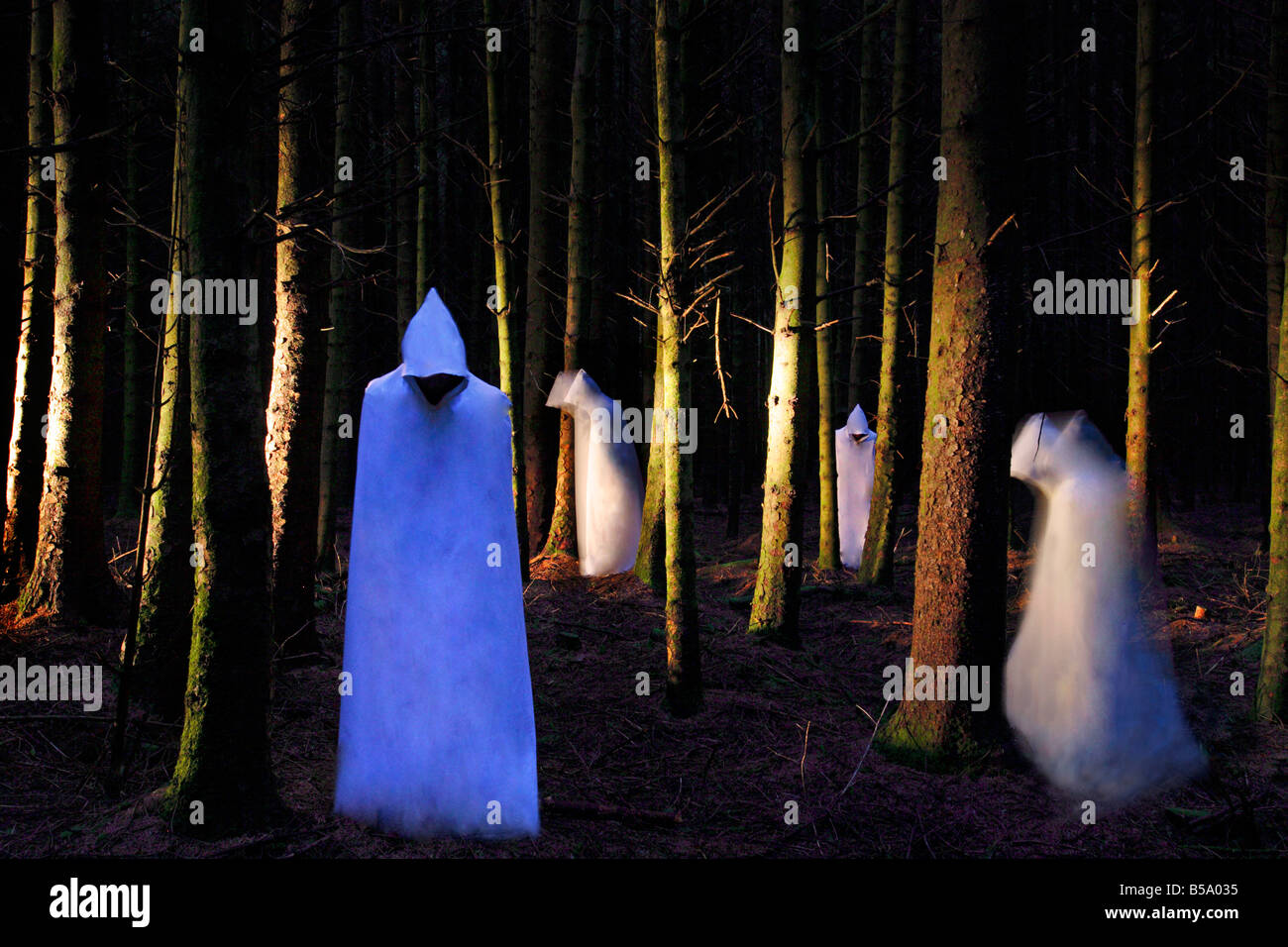 Ghosts in the woods - Stock Image