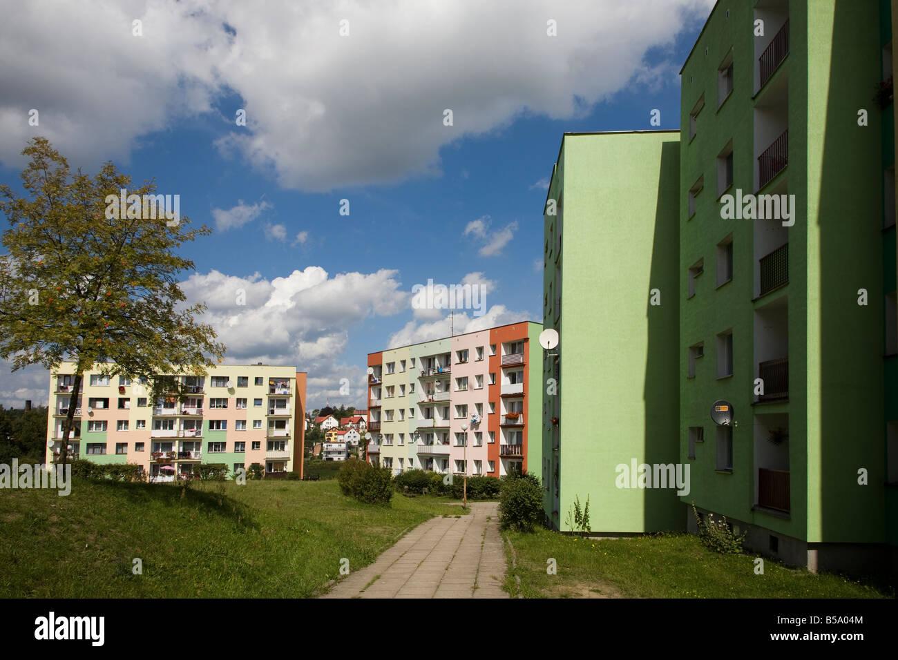 Brightly painted blocks of flats on housing estate Miastko Poland Stock Photo