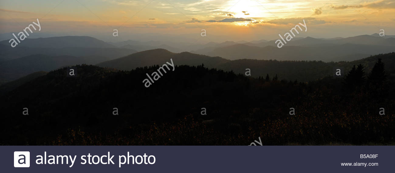 The Great Smoky Mountains at sundown - Stock Image