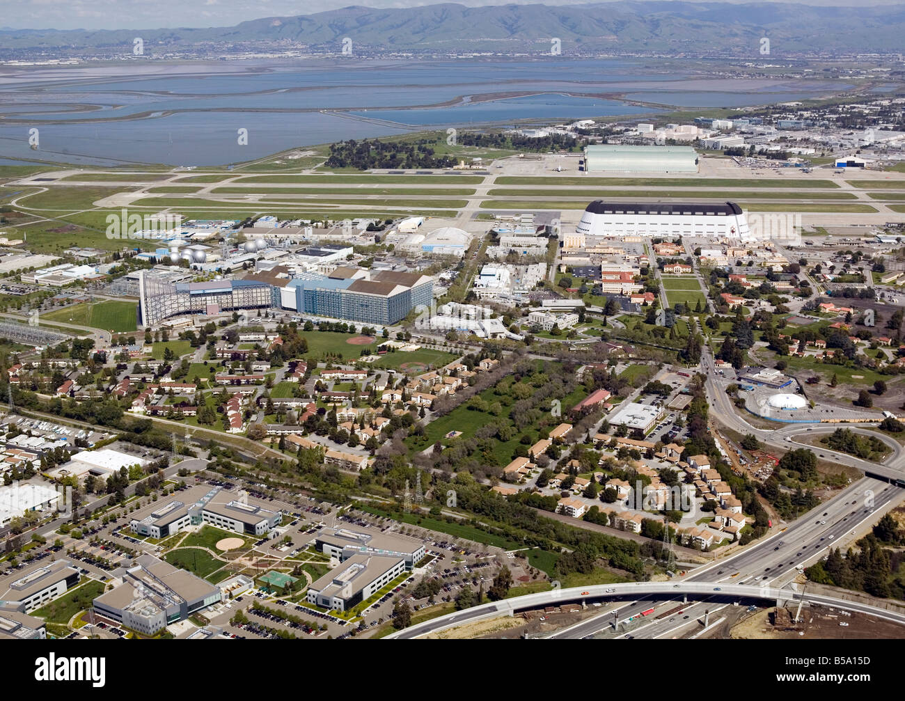 aerial view above Mountain View Silicon Valley Moffett Field NASA National Aeronautic and Space Administration CA - Stock Image