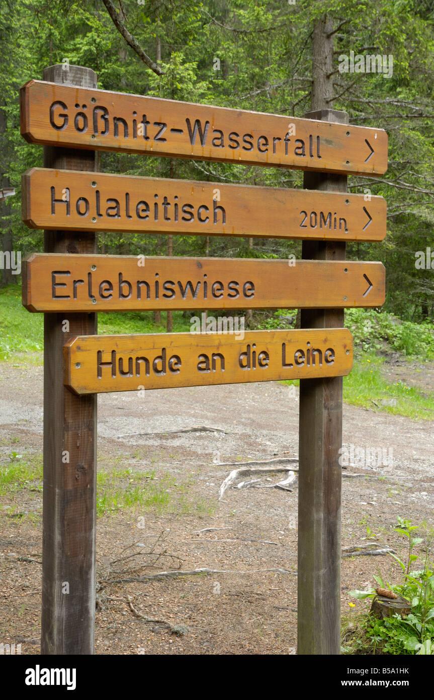 Footpath route signpost, near Heiligenblut, Hohe Tauern National Park, Austria - Stock Image