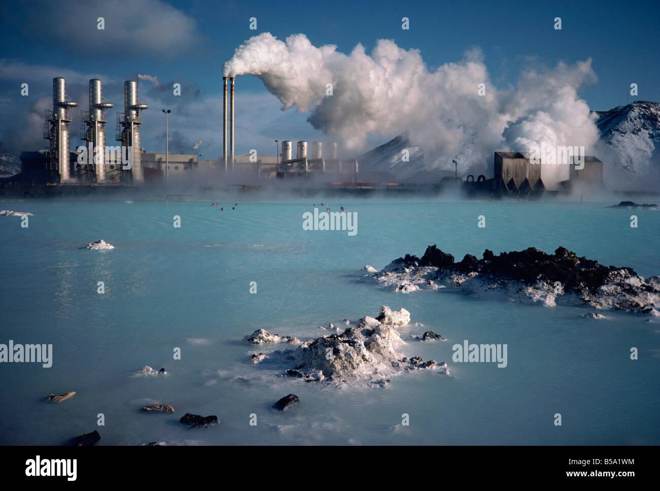 geothermal power plant and blue lagoon at svartsengi iceland polar