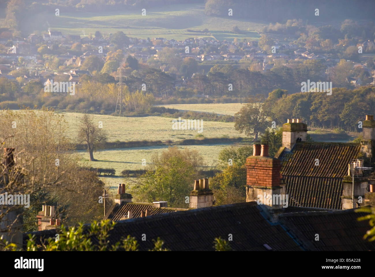 View from Batheaston of Bathampton water meadows site of a proposed Park and Ride scheme opposed by local people Stock Photo