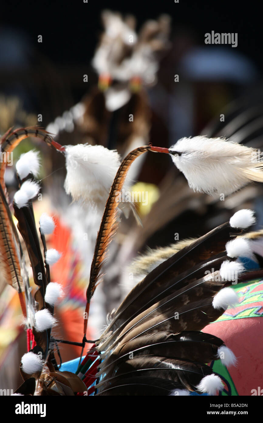 A Native American Indian feather outfit for dancing at a Pow Wow at the Milwaukee Lakefront Indian Summer Festival - Stock Image