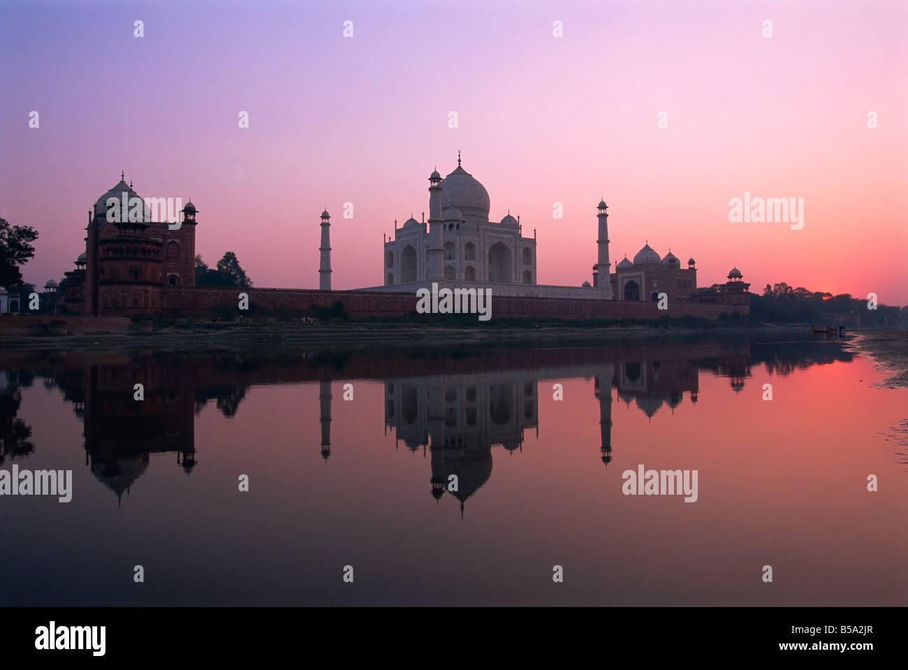 Taj Mahal at sunset UNESCO World Heritage Site Agra Uttar Pradesh state India Asia - Stock Image