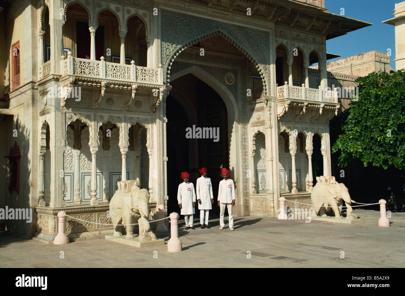 Gateway to the Inner courtyards, and guards, City Palace, Jaipur, Rajasthan state, India - Stock Image